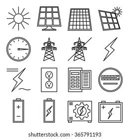"Set of vector icon ""Solar power"""