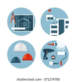 Set of vector icons about construction, tools, equipment,  engineering and safety. Flat design style. Conceptual illustrations of designing and building.