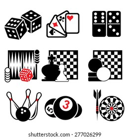 set vector icons of active, casino and puzzle games