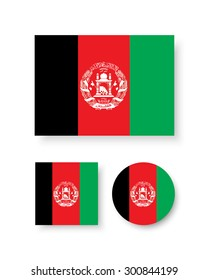 Set of vector icons with Afghanistan flag
