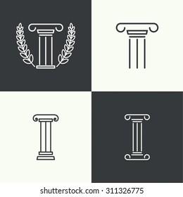 set of vector icons. Antique column. Pedestal.