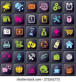 set vector icons of APP icons for smart phone