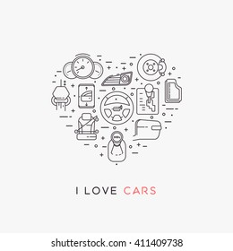 Set of vector icons of automotive topic. Icons arranged in the shape of heart. Automobile items. Thin line art design. I love cars. Black and white