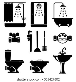 set vector icons of bathroom and toilet equipment