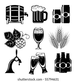 set of vector icons of beer