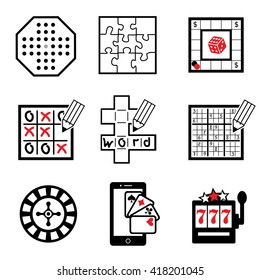 set vector icons of board,  casino and logic  games