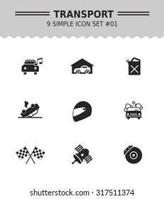 Set of vector icons with car and racing concepts, isolated on white