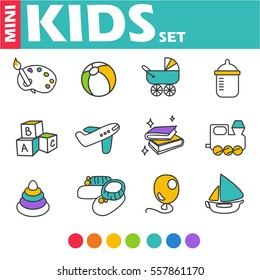 Set of vector icons - the children's world.  Pyramid paint ball cubes book airplane balloon boat locomotive