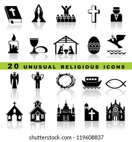 set vector icons of christian religion sign and symbol