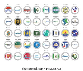 Set of vector icons. Cities of Canada flags (Ontario province). Vector.