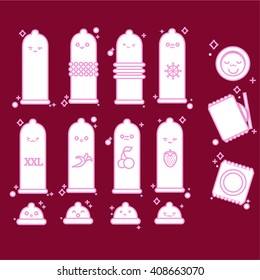 set of vector icons of condoms - ribbed, classic, dotted, banana, cherry, strawberry, flavored, xxl, large size, prolonging (cold) with Japanese smiley face, emoticons, emoji