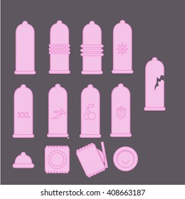 set of vector icons of condoms - ribbed, classic, dotted, banana, cherry, strawberry, flavored, xxl, large size, prolonging (cold)