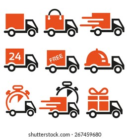 set of vector icons of delivery for online retailers