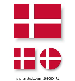 Set of vector icons with Denmark flag