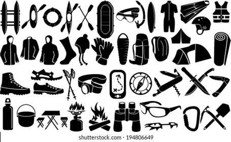 Set of Vector icons with different outdoor, caver and watersport gear