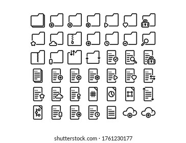 The set of vector icons of documents and folders in the line style