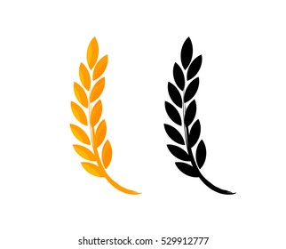 Set of Vector Icons, Ears of Wheat, Icon of Premium Quality Farm Product in gold and black color