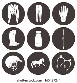 Set of vector icons - everything horseback rider needs, including cloth, helmet, horse, boots, competition gear, gloves. High quality fully editable equestrian illustration drawn in details.