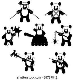 Set of vector icons featuring panda bears with weapons
