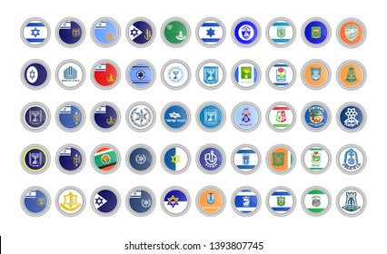 Set of vector icons. Flags of Israel. 3D illustration.