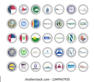 Set of vector icons. Flags and seals of North Carolina state, USA. 3D illustration.