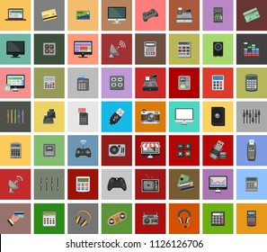 Set vector icons in flat design technology, electrics, smart, house, internet and online payment. Elements for mobile concepts. Collection modern infographic logo and pictogram
