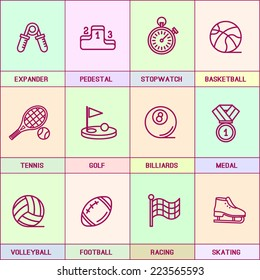 Set of vector icons in flat style. Basketball, exercise, training, tennis, golf, billiards, medal, volleyball, football, figure skating,