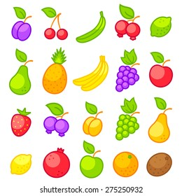 Set vector icons of a fresh fruits