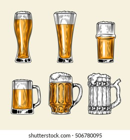 Set of vector icons  full glass  beer