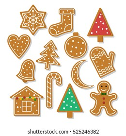 Set of vector icons of ginger bread cookies in flat style. Gingerbread men and Christmas tree, star, heart, bell and other holiday symbols baked by hand. Festive baking for winter holidays