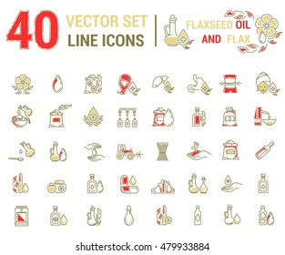 Set vector icons graphic thin outline in linear design. Element emblem symbols. Linseed oil flaxseed oil. Organic product. Herbal oil for Spa treatments hand care hair care, treatment liver and body