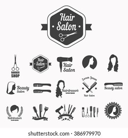 Set of vector icons: hairdresser's salon, hair care, beauty salon with scissors, hair, comb, silhouette of woman.