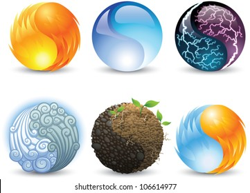 Set of vector icons of harmony symbols representing elements of earth, fire, wind, water, electricity, and fire/ice.