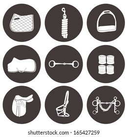Set of vector icons with horse equipment. High quality equestrian illustration, including numhan, bandages, lead, headcollar, bit, stirrup, saddle, rug.