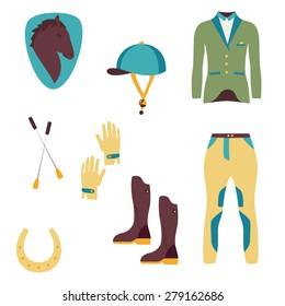 Set of vector icons - horseback rider needs, cloth, helmet, horse, boots, gloves.