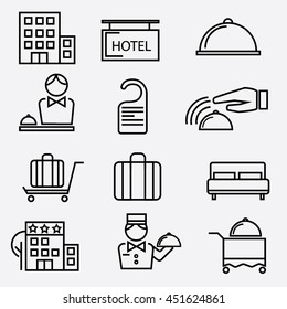 Set of vector icons of hotel service. Hotel outline icons.
