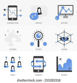 Set of vector icons into flat style. Cloud storage, 3D visualization, exchange and transmission of information, search engine optimization. Isolated Objects in a Modern Style for Your Design.