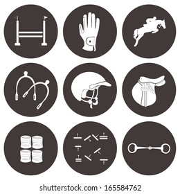 Set of vector icons with jumping horse equipment. High quality equestrian illustration, including jumping horse, spurs, helmet, scheme, snaffle, saddle and other horse gear.