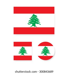 Set of vector icons with Lebanon flag