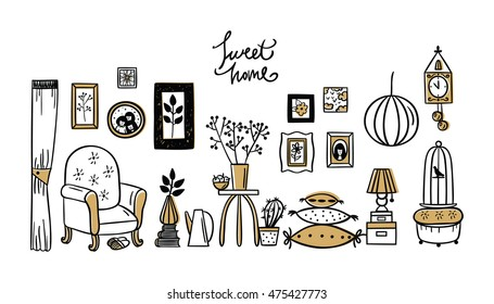 Set of vector icons for living room. Vector set of vintage interior design elements, hand drawn doodle style.
