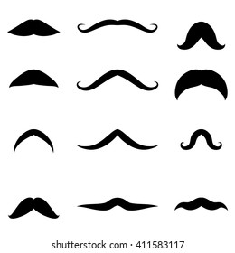 Set of vector icons for men mustache. Group 12 black silhouettes whisker. Isolated abstract.