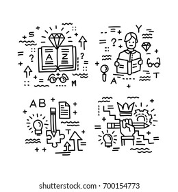 Set of vector icons in modern linear style. Science and education, logic and strategy .