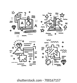 Set of vector icons in modern linear style. Science and education, logic and strategy, theory and practice