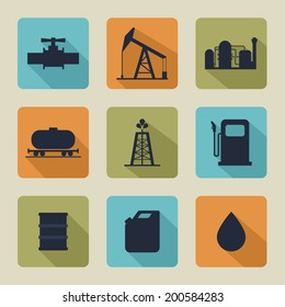Set of vector icons with oil production, processing, refining, transportation of oil. Flat design