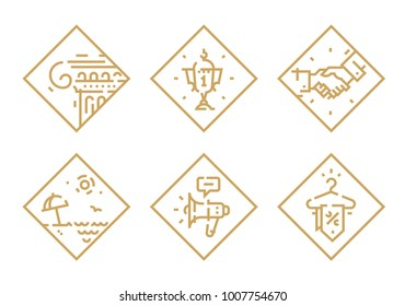 Set of vector icons on different topics. Icons isolated on white background. Cup. The Greek Column. Relax on the beach. Megaphone. Discounts. Handshake. Square outline icons. Accidentally matched.