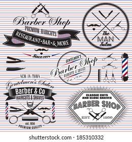 set of vector icons on a theme hair salon
