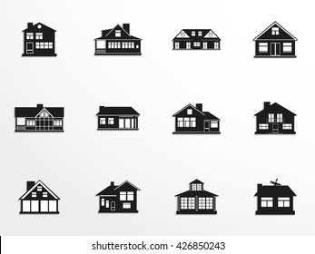 Set of vector icons on the theme of private homes.