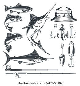 Set vector icons on the theme of fishing