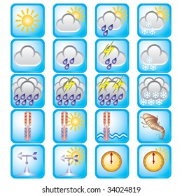 set of vector icons on the weather theme