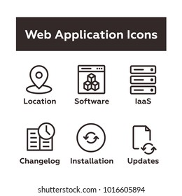 Set of Vector Icons in Outline Flat Style. Includes Geo Location Tag, Web Based Software, IaaS Icon, Changelog, Installation, Updates.